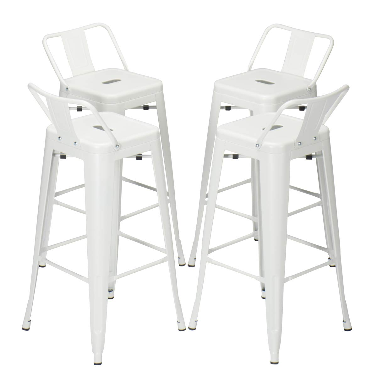 30 inch Metal Barstools Set of 4 Indoor Outdoor with Low Back Counter Height Stool Cafe Side Bar Stools White