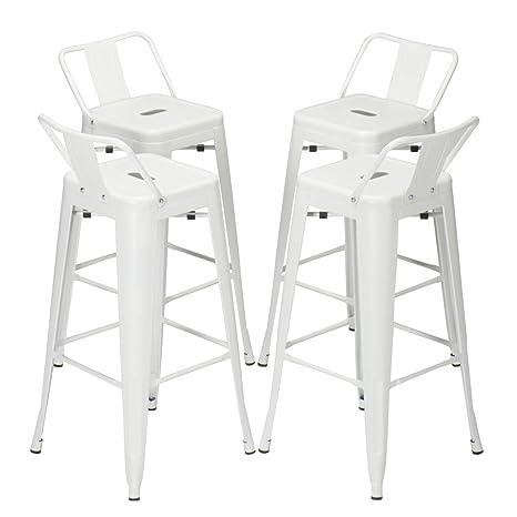 Pleasing 30 Inch Metal Barstools Set Of 4 Indoor Outdoor With Low Back Counter Height Stool Cafe Side Bar Stools White Inzonedesignstudio Interior Chair Design Inzonedesignstudiocom