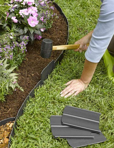 "Easy No- Dig, Pound-In, Interlocking Landscaping Edging Kit 8"" Tall, 20' Long"