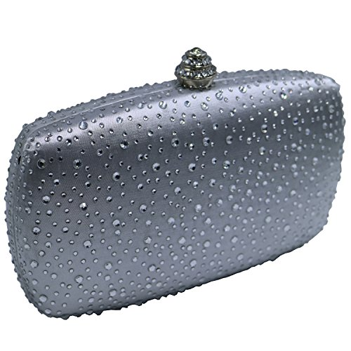 Womens Crystal Clutch Crystal Silver Box DMIX Bags Evening wP6Wnqw5d