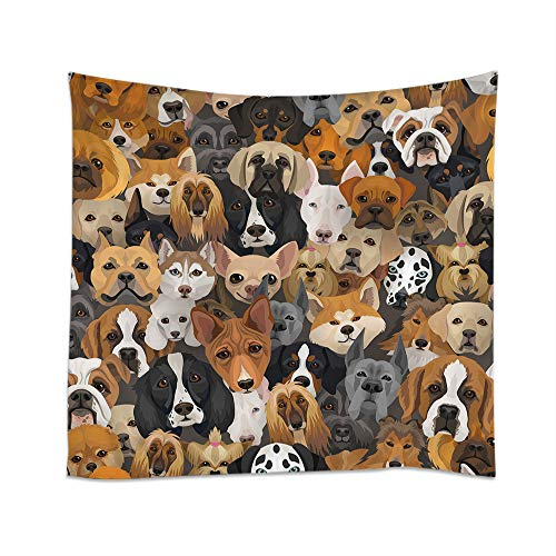 Moslion Dog Tapestry Cute Doggy Puppy Head Husky Dalmatian Bulldog Schnauzer Spaniel Wall Hanging Tapestries One Side Decorative Home Art Polyester for Living Room 60x60 Inch