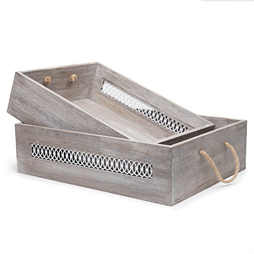 MyGift Wooden Nesting Crates with Rope Handles/Decorative Rustic Boxes, Set of 2