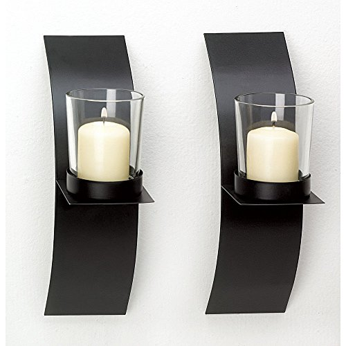 lunanice Modern Art Candle Holder Wall Sconce Plaque Set of Two ()