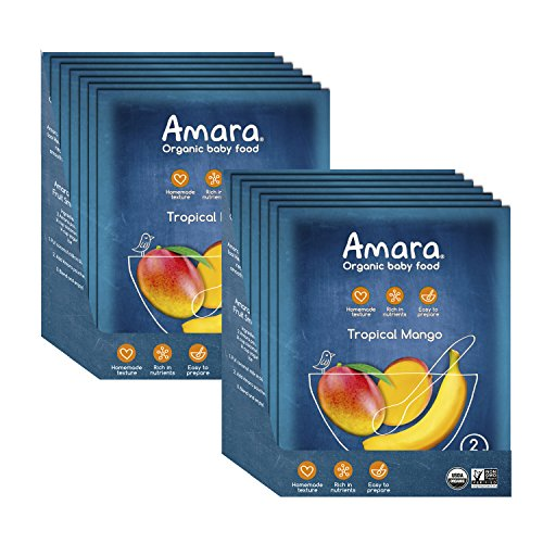 Amara Baby Food, Tropical Mango, Healthy Baby Food, Organic Fruit for Baby's First Meals - Stage 1 (14 Pouches)