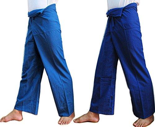 (DOUBLE) 2 x Striped Thai Fisherman Wrap Pants Trousers by Ngamchuen Thailand