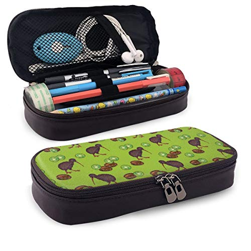 Pencil Case Kiwi Birds and Kiwi Fruits Below Big Capacity Leather Durable Students Stationery Pen Bag with Double Zipper Pen Holder for School/Office