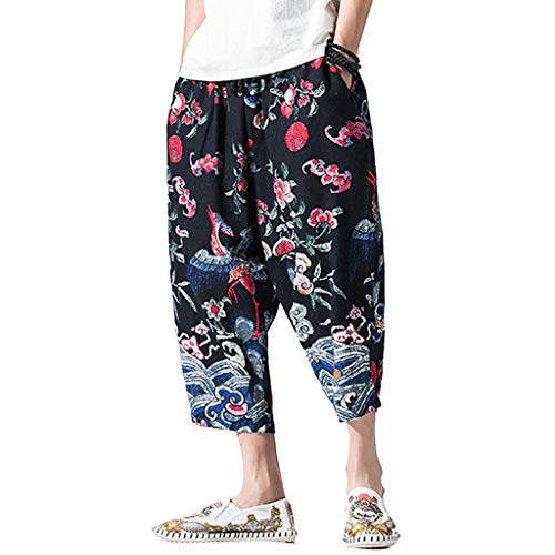 (Men's Cotton Linen Loose Pants Casual Elastic Waist Baggy Harem 3/4 Pants Trousers with Pockets Red)