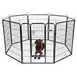 DazzPet Dog Puppy Large Playpen Metal Fence with Door | Heavy Duty Pet Pen Outside Exercise RV Play Yard | Outdoor Indoor Courtyard Kennel Crate Enclosures | 40