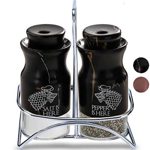 (Salt and Pepper Shakers Famgem - GOT Stainless Steel Set with 3 Adjustable Pours)