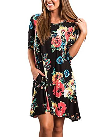 AlvaQ Women Spring Long Sleeve Floral Cotton Sun Dress Slimming Fit Casual Plus Size Tunic Dress Small