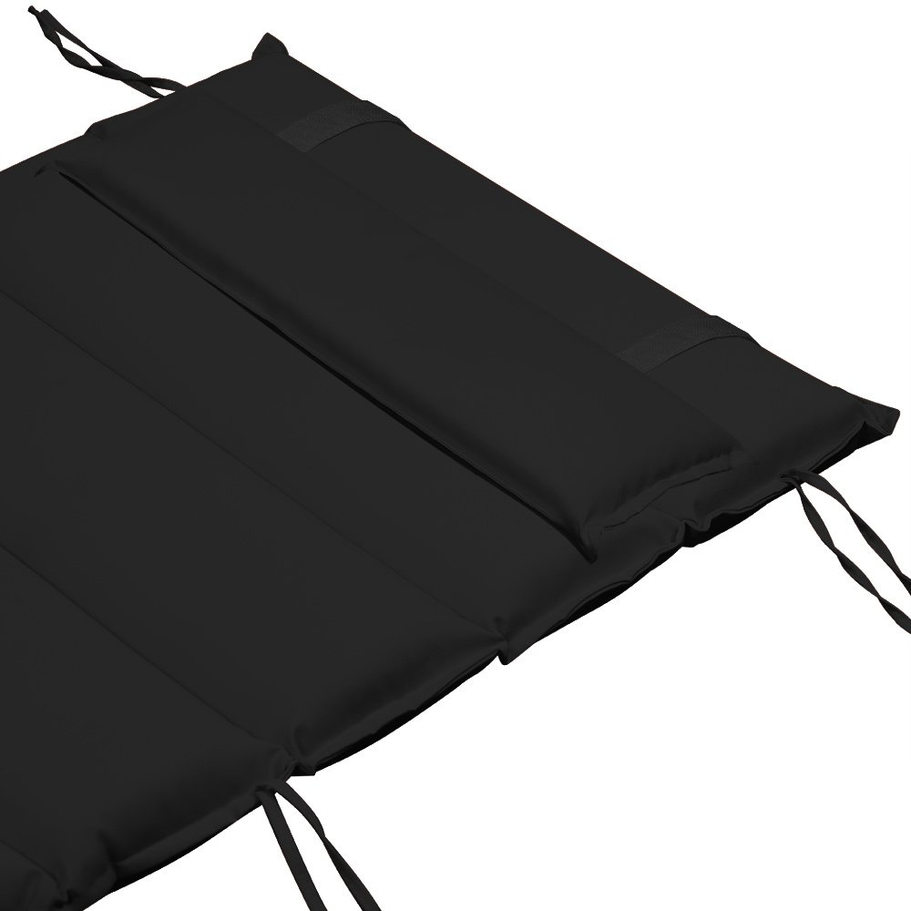 Deuba Sun Lounger Cushion Lounger Reclinger Pads with Adjustable Pillow 177 x 59 cm Water Repellent Detex Covers Grey