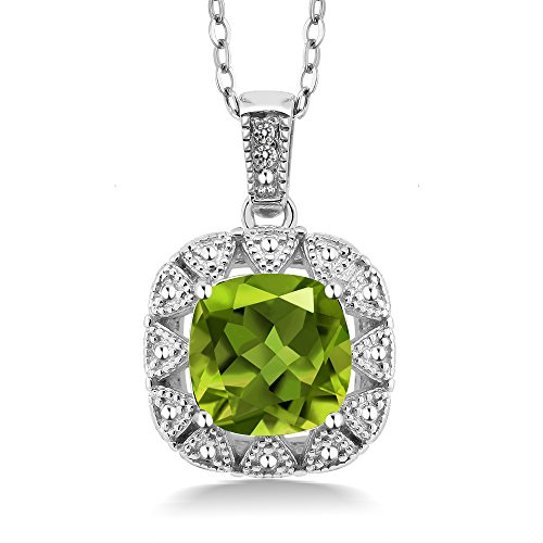 Cushion Diamond Necklace (2.46 Ct Cushion Green Peridot White Diamond 925 Sterling Silver Pendant (Center Stone: 8MM, with 18 Inch Silver Chain))