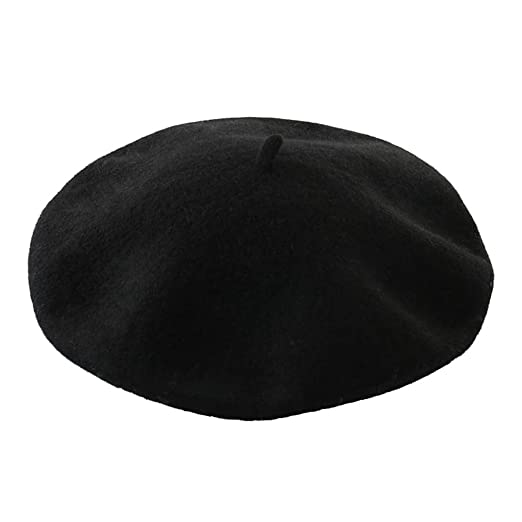 DECOU Solid Color Classic French Artist Beret Hat 100% Wool (Black ... cade20ad0dc
