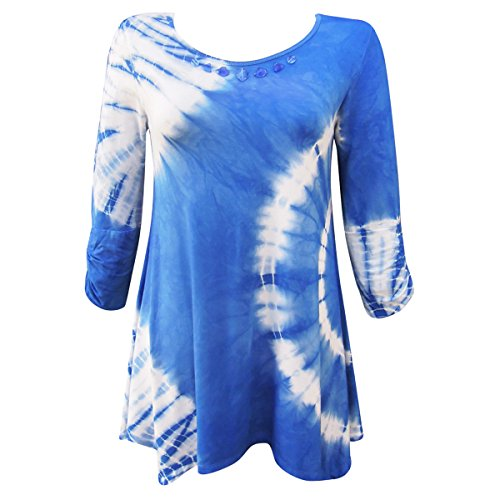 Nature Art Womens Tie Dye Tunic 3/4 Sleeves Embellished Jeweled Top Blue L