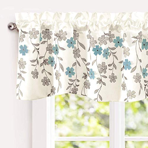 "DriftAway Isabella Faux Silk Embroidered Kitchen Swag Valance, Embroidered Crafted Flower, Single, 60""x18""+1.5 Header(Ivory/Blue)"