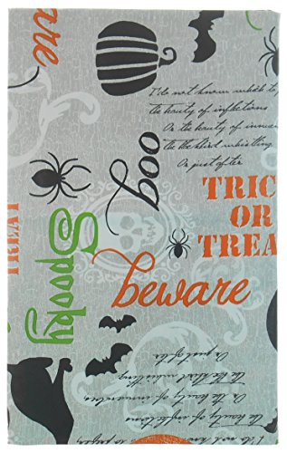 Trick or Treat Halloween Vinyl Tablecloth with Sayings, Witches, Owls, Cats on Gray Background - Flannel Backing (52