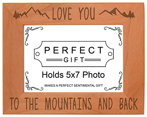 Mountain Photo Frame Love You to The Mountains Back  Wood Engraved 5x7 Landscape Picture Frame