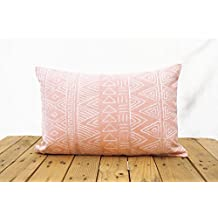 """Aztec pattern pillow cover, blush colour, embroidery, geometrical, cotton pillow cover,14""""X21"""""""