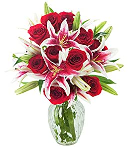 Red Shades of Love Mixed Bouquet of 12 Red Roses and 5 Stargazer Lilies with Vase