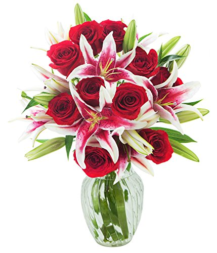 KaBloom Red Shades of Love Mixed Bouquet of 12 Red Roses and 5 Stargazer Lilies with - Shades Fresh