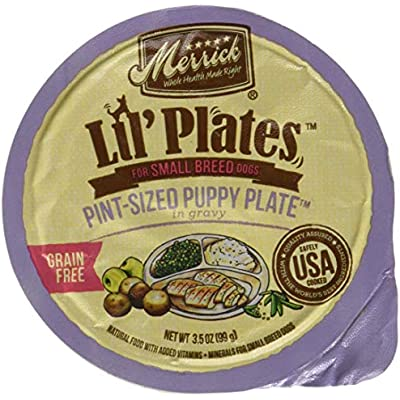 Merrick Lil' Plates Grain Free Small Breed Wet Dog Food, 3.5 Oz, 12 Count Pocket Size Puppy Plate