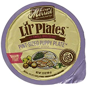 Merrick Lil' Plates Grain Free Pint-Sized Pint Puppy Plate Small Breed Wet Puppy Food, 3.5 Oz, Case Of 12 Cups