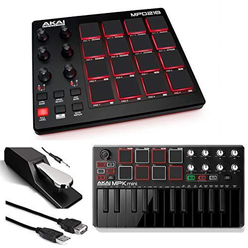 (Akai Professional MPD218 | MIDI Drum Pad Controller with Akai MPK Mini MKII | 25-Key Portable USB MIDI Keyboard (Black) + Pedal & USB Cable - Top Value Bundle)