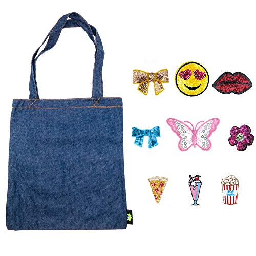 (Denim Duck Bag Canvas Tote with 9 PCs Iron on Sew On Decorative Patches)