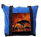 Lunarable Africa Shoulder Bag, Dramatic Sunset Giraffes, Durable with Zipper