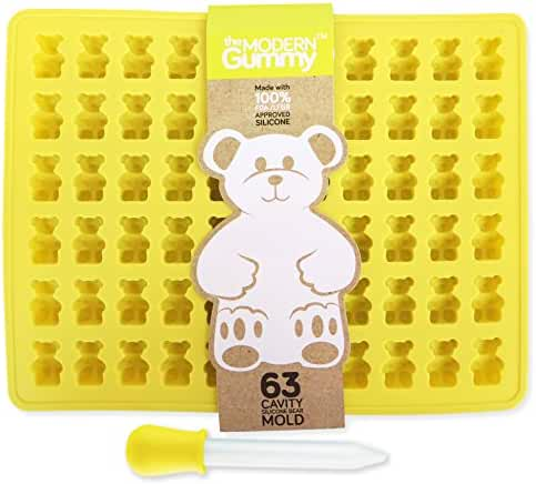 PROFESSIONAL GRADE PURE LFGB SILICONE Gummy Bear Mold by The Modern Gummy, 63 CAVITY+ Dropper + Recipe PDF | No Plastic Fillers, BPA, or Chemical Coatings;Candy, Chocolate Making, Soap & Ice Cube Tray