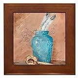 CafePress - Blue Vase w/Rattle Framed Tile - Framed Tile, Decorative Tile Wall Hanging