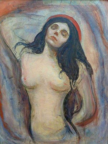 Wall Art Impressions Quality Prints - Laminated 24x32 Vibrant Durable Photo Poster - Edvard Munch Madonna 1893-95 Edvard Munch: Madonna -
