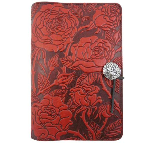 Wild Red Rose Embossed Leather Writing Journal, American Made, 6 x 9-inch + Refillable Hardbound Insert Book by Modern Artisans (Image #1)