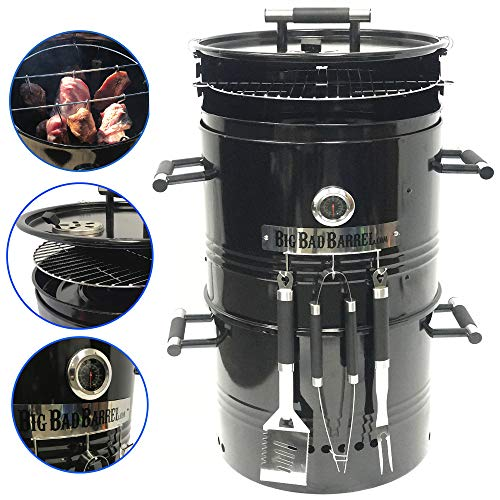 EasyGO Big Bad Barrel Pit Charcoal Barbeque 5 in 1 Can be Used as a Smoker Grill BBQ, Pizza Oven, Table & Fire Pit.18-Inch Diameter-3 pcs Tool, ()