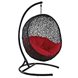 Modway EEI-739-RED-SET Encase Wicker Rattan Outdoor Patio Balcony Porch Lounge Egg Swing Chair Set with Stand Red Review