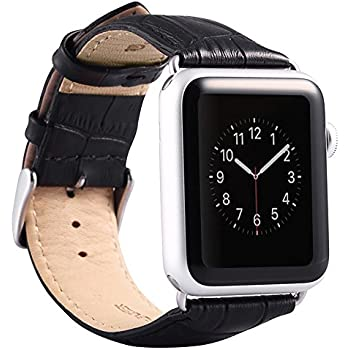 Valkit for Apple Watch Band - iWatch Bands 38mm Genuine Leather Strap iPhone Smart Watch Band Bracelet Replacement Wristband with Stainless Steel Adapter Metal Clasp for Apple Watch 2 1, 38 MM - Black