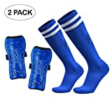 GeekSport Soccer Shin Guards - Youth Sizes Soccer Equipment for Kids Toddler Child 4-6, 7-9, 10-12 Years Old Girls Boys Children Teenagers (1 Pack Shin Guards + Socks Blue M)