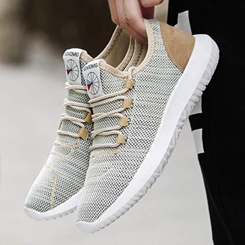 para Zapatos Running Primavera Casual Respirable de Gym QinMM Zapatillas Khaki otoño Verano Deportes Cordones Malla Hombre qInvwf0U