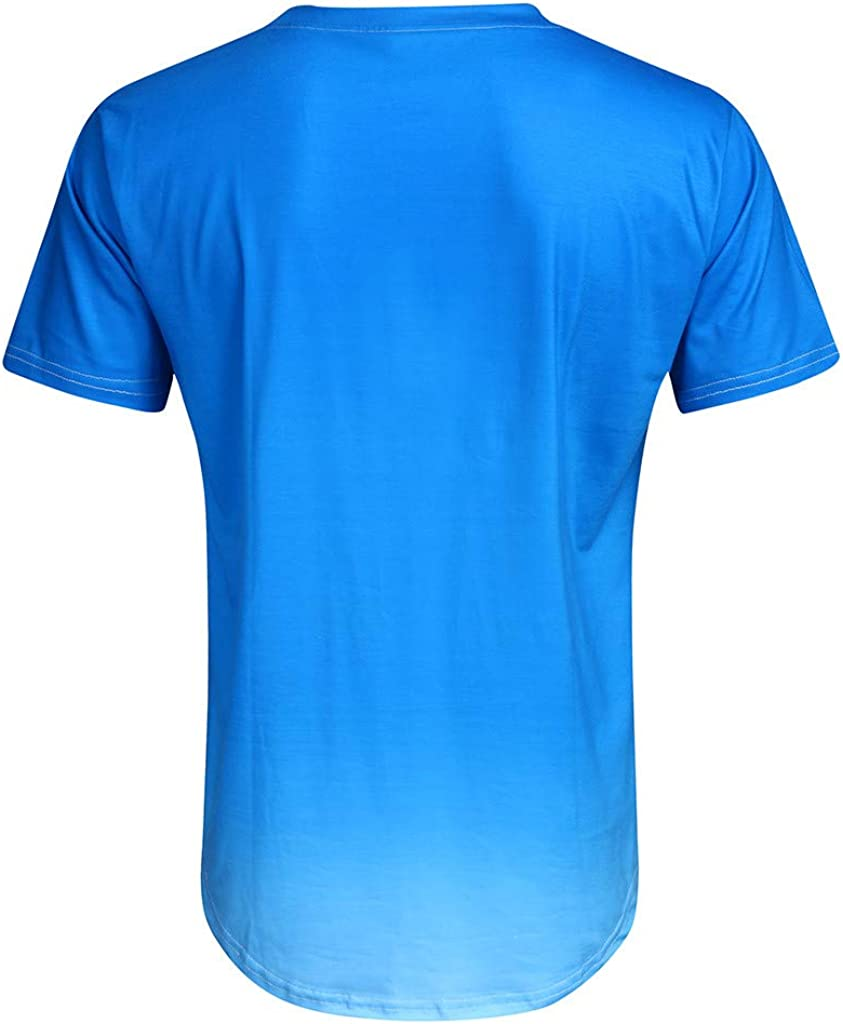 Mens Personality Tee Fashion Casual Short Sleeve Gradient Tees Gym Training Bodybuilding Muscle Fitness T Shirt