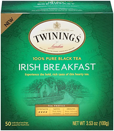 Tea Irish Black Tea (Twinings of London Irish Breakfast Black Tea Bags, 50 Count (Pack of 6))