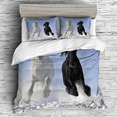 ce Duvet Cover Sets Bedding Set Collection [ Horses,Competing Racing Black and White Horses on Snow Good and Evil Mythical Symbolic Creatures,Blue ] Comforter Cover Set for Kids Gi ()