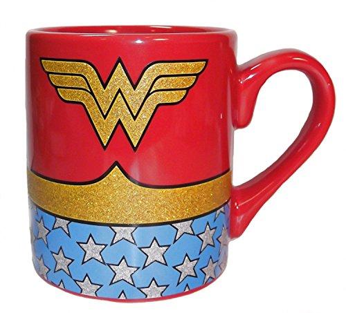 Wonder Woman Uniform Glitter Coffee Mug DC Superhero Costume 14 oz Ceramic