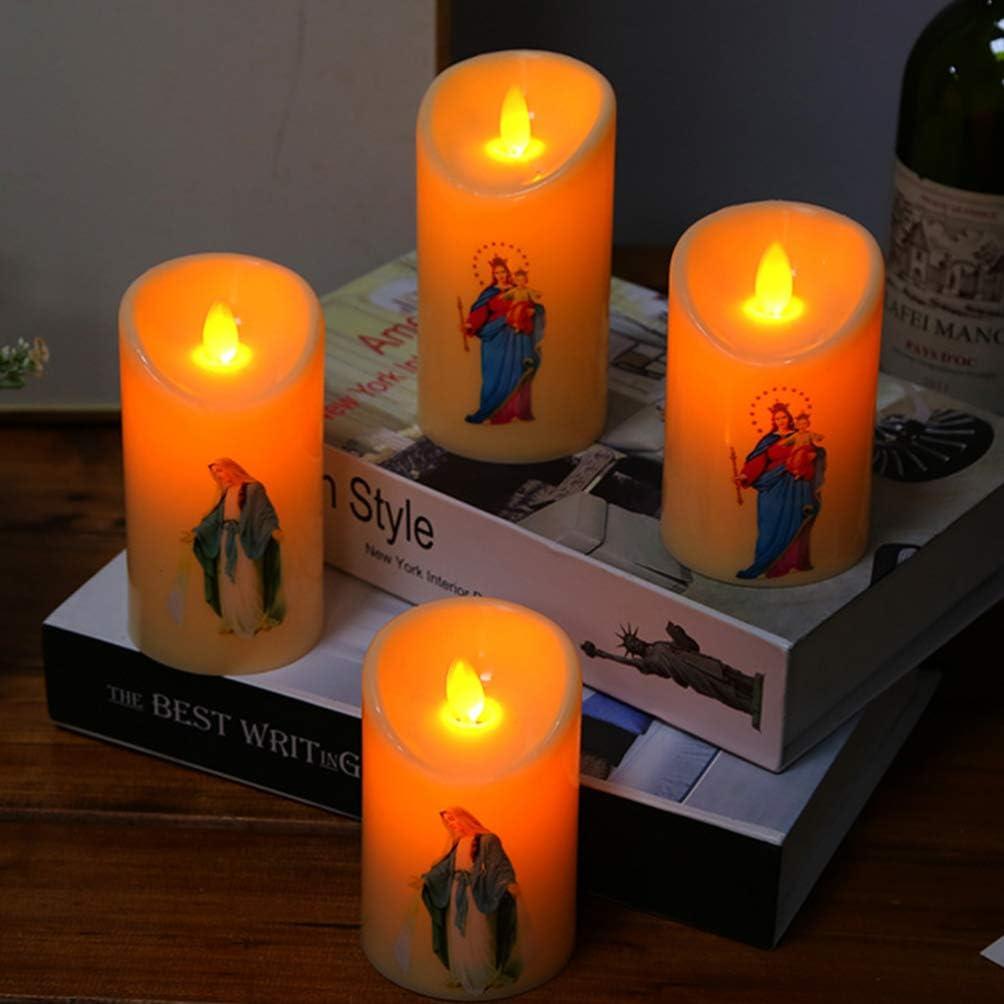 2pcs Uonlytech led jesus sans flamme bougie lumi/ère pri/ère bougie nuit lumi/ère fournitures de f/ête pour la maison religieuse hall halloween d/écoration de no/ël