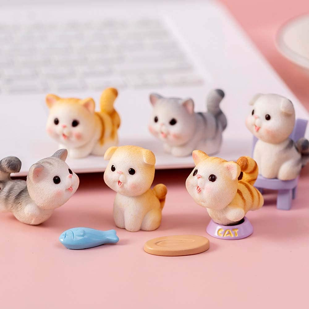 DAWEIF Mini Cute Resin Cat Figurines Crafts Children Collection Playset Craft Dollhouse Home Decoration Miniatures Ornament(6PCS)