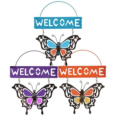 - Spring Floral Garden Decorative Metal Butterfly Welcome Signs 10.5 in 3 Piece Set Butterflies