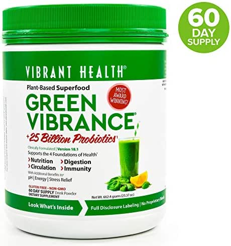 Vibrant Health, Green Vibrance, Plant-Based Superfood Powder, 25 Billion Probiotics Per Scoop, Vegetarian and Gluten Free, 60 Servings