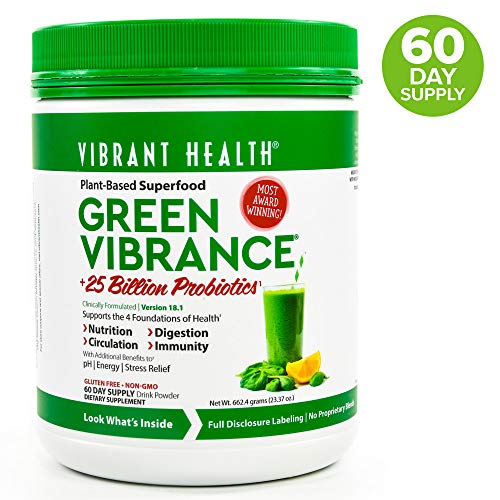 Vibrant Health, Green Vibrance, Plant-Based Superfood Powder, 25 Billion Probiotics Per Scoop, Vegetarian and Gluten Free, 60 Servings (FFP) ()