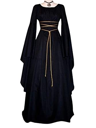 6fa6d2cb891 Amazon.com  Lynwitkui Womens Deluxe Medieval Dress Renaissance Cosplay  Costumes Lace Up Victorian Gown Retro Long Black Dress  Clothing