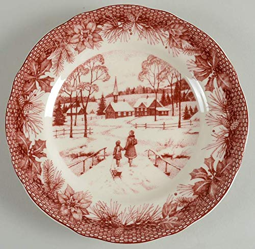 Toile Porcelain Plate (222 Fifth (PTS) POINSETTIA TOILE Luncheon Plate(s) EXCELLENT)