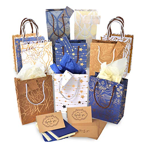Christmas Gift Bags Bulk - Set of 16: 12 Assorted Medium Size Bags with Rope Handles + 2 Wine Bags + Tissue Paper + 12 Cards for $<!--$17.95-->
